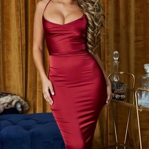 Brand New With Tag Dark Red Satin Dress.